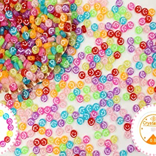 600 Pcs Colorful Smiley Face Beads Set 7 Mm Acrylic Round Happy Face Spacer Beads with 1 Roll Clear Elastic Cord for DIY H...
