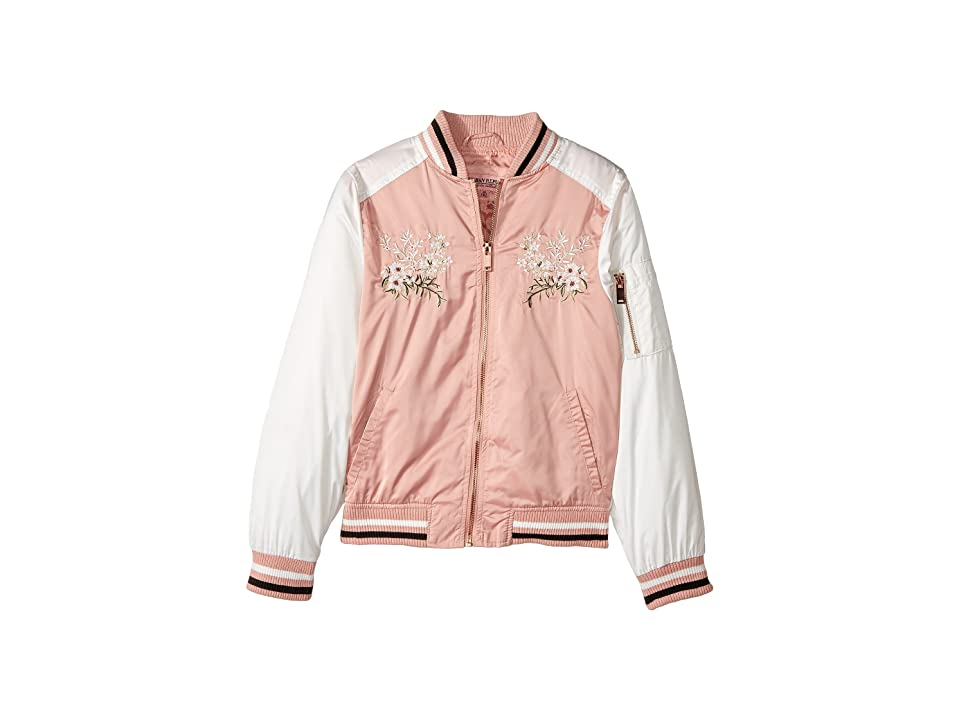 Urban Republic Kids Satin Bomber with Chest Embroidery (Little Kids/Big Kids) (Light Rose) Girl
