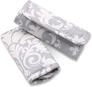 Grey Damask Car Seat and Stroller Strap Covers by The Peanut Shell