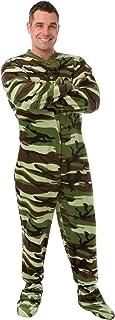 Big Feet Pajama Camouflage Micro Polar Fleece Adult Footed Pajamas Onesie with Drop Seat