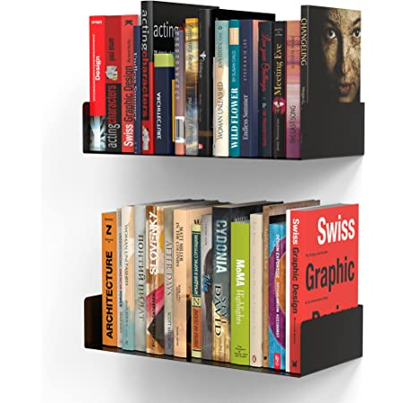 APPUCOCO Heavy Duty Wall Mount Metal U Shape Shelf Book CD DVD Storage Display , Set of 2 (Black)