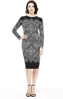 Women's Long Sleeve Round Neck Sheath Dress