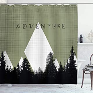 Ambesonne Adventure Shower Curtain, Forest with Halftone Effect Hipster Typography Camping in Mountains, Cloth Fabric Bathroom Decor Set with Hooks, 70