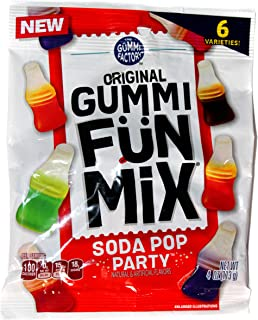 The Gummi Factory (1) Bag Original Gummi Fun Mix Soda Pop Party - 6 Candy Varieties: Orange, Lemon-Lime, Strawberry, Grape, Cherry Cola, Cola - 4 oz