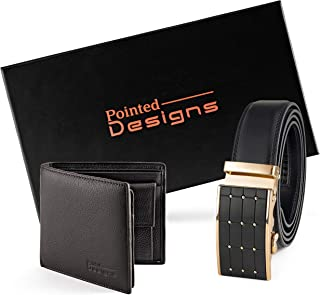 Leather Belt Gift Set - Wallet Gift Set for Men - Christmas Gift For Dad - Stocking Stuffers By Pointed Designs