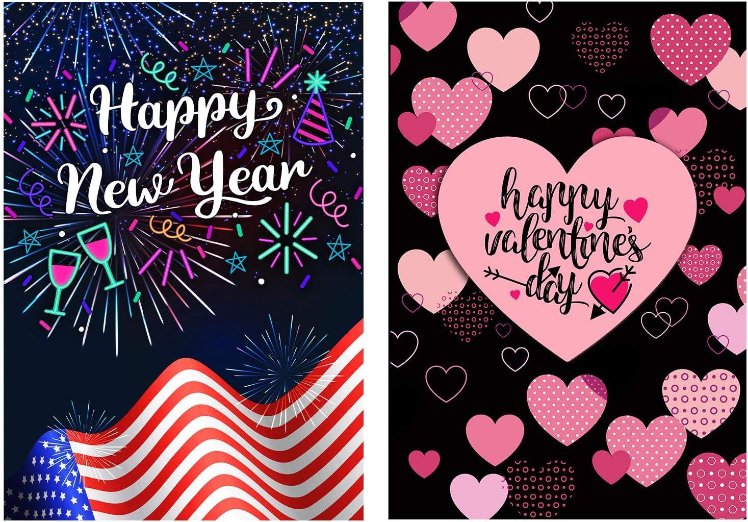 2 Pack Valentine Day Garden Flag New Years Flag,Double Sided Valentine Flag New Years Garden Flag 12x18 Valentine's Day Flag Burlap Valentine House Flag for Seasonal Garden Flags Set