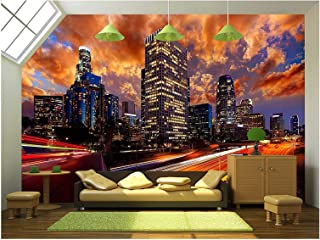 wall26 - Downtown La Night Los Angeles Sunset Skyline California from 110 Freeway - Removable Wall Mural | Self-Adhesive Large Wallpaper - 100x144 inches