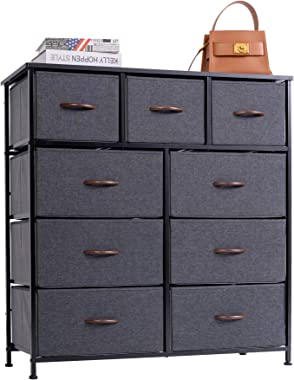 WAYTRIM 4-Tier Wide Drawer Dresser, Storage Unit with 9 Easy Pull Fabric Drawers and Metal Frame, Wood Top, Organizer Unit fo