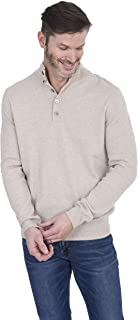 Cashmeren Men's Fashion Button Down Mock Neck Sweater Cashmere Wool Polo Collar Long Sleeve Pullover