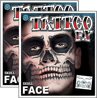 Day of the Dead Skeleton Skull Full Face Temporary Tattoo Kit - 2 Complete Kits