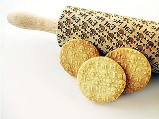 Nudelholz TOTENKOPF EAT ME. Teigrolle mit Schädel. Kekse. Präge Teigrolle. Halloween. Gravierte Nudelholz mit Muster. Engr...