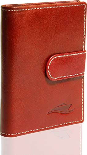 Huben RFID Leather Credit and Business Card Holder (Radiant Red)