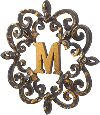 47th and Main Distressed Wooden Monogram Letters Wall Art Decor, 16 Inch (M)
