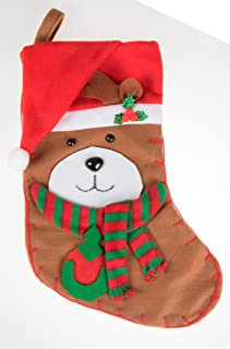 Unique Bear Hanging Christmas Stocking | Soft Plush Cloth For Kids, Teens, and Adults | Cute Brown Bear Holiday Decor Theme | Perfect for Small Gifts, Stocking Stuffers, and Candy | 16