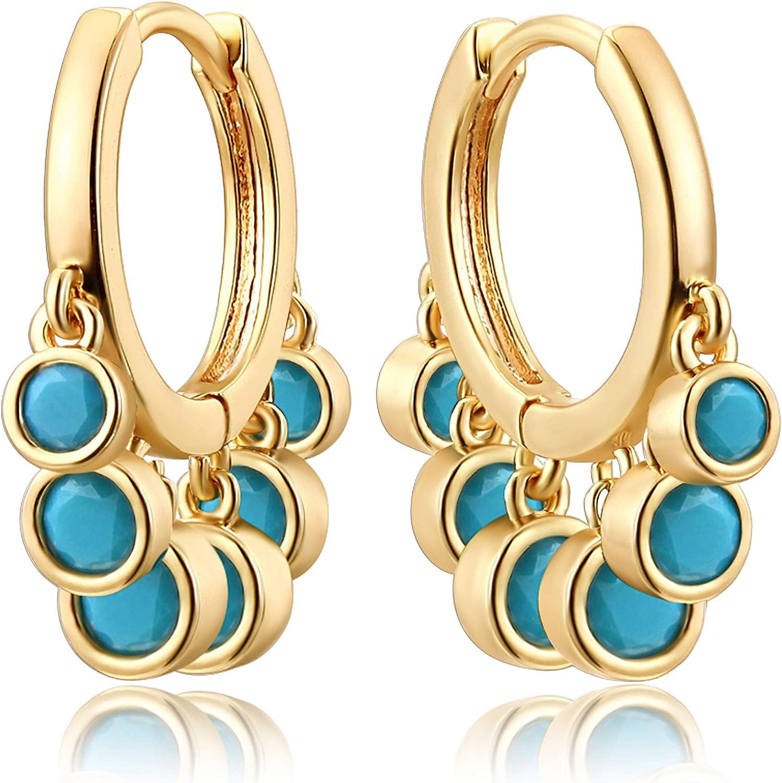 Mevecco Gold Tassel Huggie Hoop Earrings 18K Gold Plated Dainty