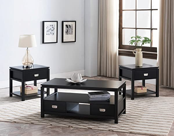 Kings Brand Furniture 3 Piece Black Finish Wood Storage Occasional Table Set Coffee Table 2 End Tables