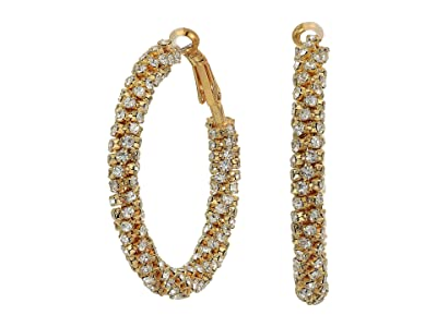Nina Cupchain Wrapped Hoop Earrings (Gold/White Crystal) Earring