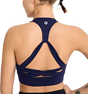 RUNNING GIRL Women's Racerback Sports Bra-Padded Medium Impact Workout Bra for Yoga Gym Actives and Fitness