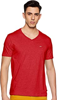 Levi's Men's Solid Regular fit T-Shirt (17076-0038_Red_L)