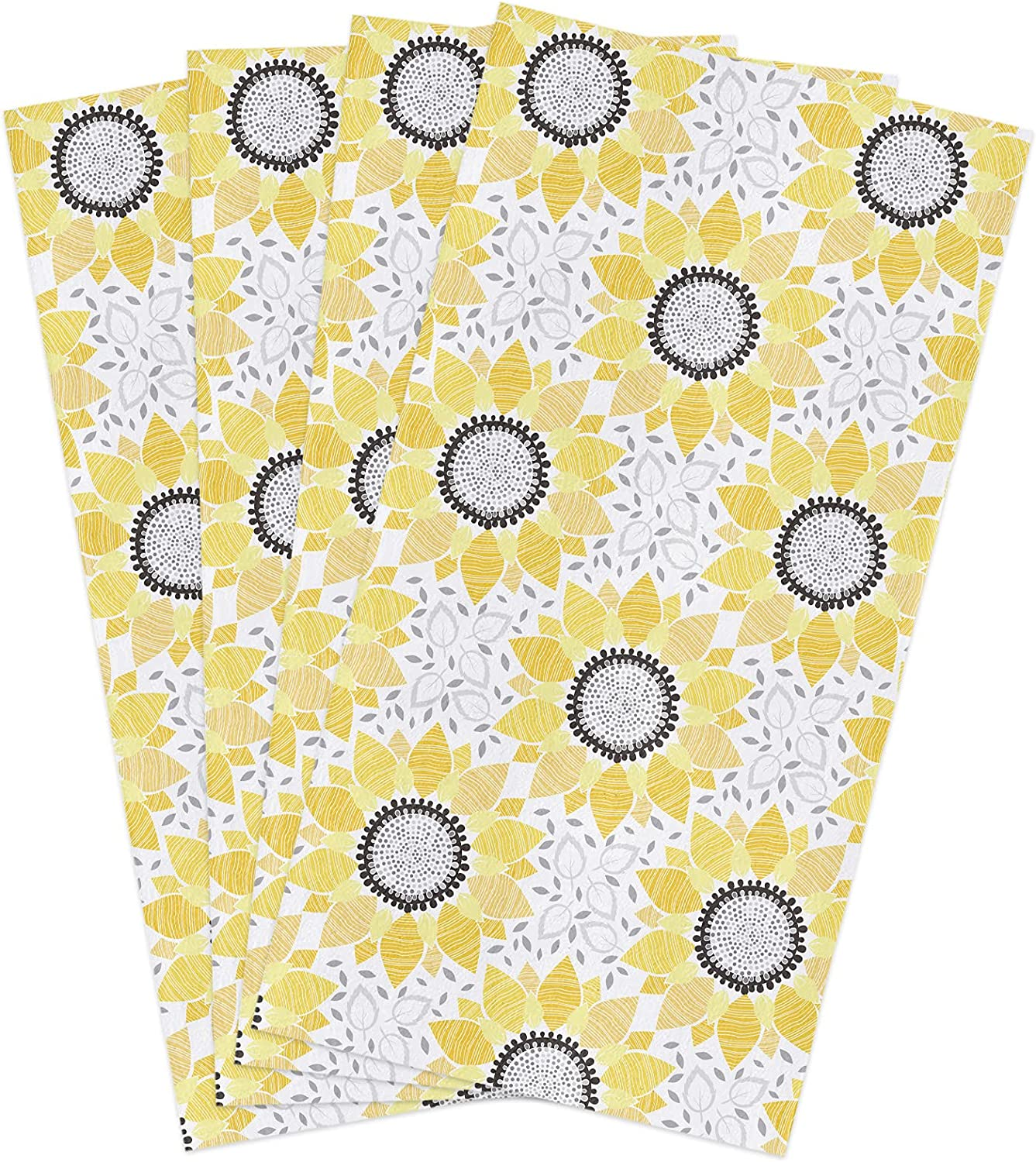trust Miami Mall Kitchen Towels Set Abstract Sunflower Dish Towel B Yellow Floral