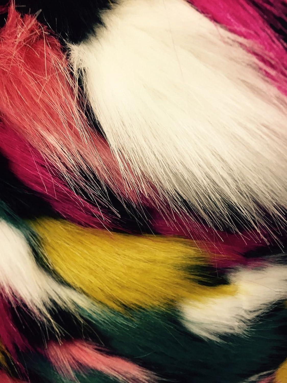 Black Multicolor Jacquard Faux Fun Super discount 100% quality warranty! -Yard Soft Fur-Shaggy