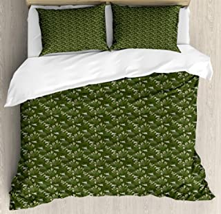 Millxiu 4 Piece Bedding Set Lightweight Soft Duvet Cover Set Cactus Flower Skull Figures Plantation Unique Zipper Closure & Ties Easy Care for Bedroom Evergreen Sage Green Blush Pastel Brown King