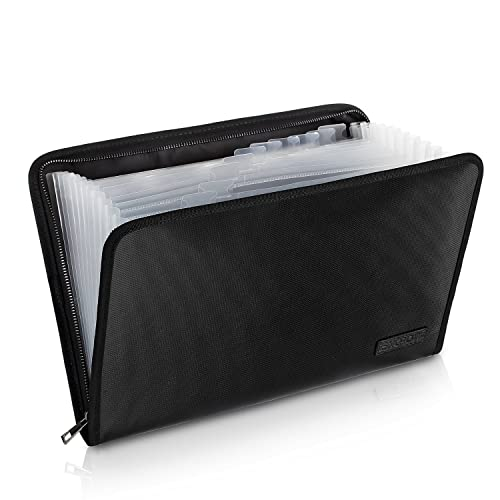 "Fireproof File Folder Fireproof Fire and Water Resistant Money Document Bag with A4 Size 13 Pockets Zipper Closure Non-Itchy Silicone Coated Portable Filing Organizer Pouch(14.3"" x 9.8"")"