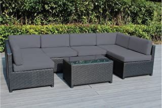 Ohana Mezzo 7-Piece Outdoor Wicker Patio Furniture Sectional Conversation Set, Black Wicker with Gray Cushions - No Assembly with Free Patio Cover