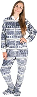 Navidad Plateada: Pijama con Pies para Adultos, Pijama Entero para Adultos, Pijama Entero De Lana Unisex con Renos, árboles De Navidad, Copos De Nieve