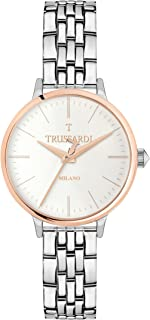 TRUSSARDI Women's T Sun Analog-Quartz Stainless-Steel-Plated Strap, Silver, 16 Casual Watch (Model: R2453126503)