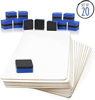 Dry Erase Boards - Quantity Lap Board Pack with 20 Boards, 20 Felt Erasers - Without Markers - 20 Whiteboards + Eraser