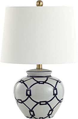 Safavieh Lighting Collection Anders White/Blue 21-inch Bedroom Living Room Home Office Desk Nightstand Table Lamp (LED Bulb Included)