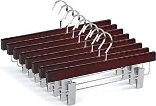TOPIA HANGER 20-Pack Cherry Wooden Pants Hangers, Luxury Wood Skirt Hangers, Glossy Finish with Extra Thick Chrome Hooks & Anti-Wrinkle Clips CT03M