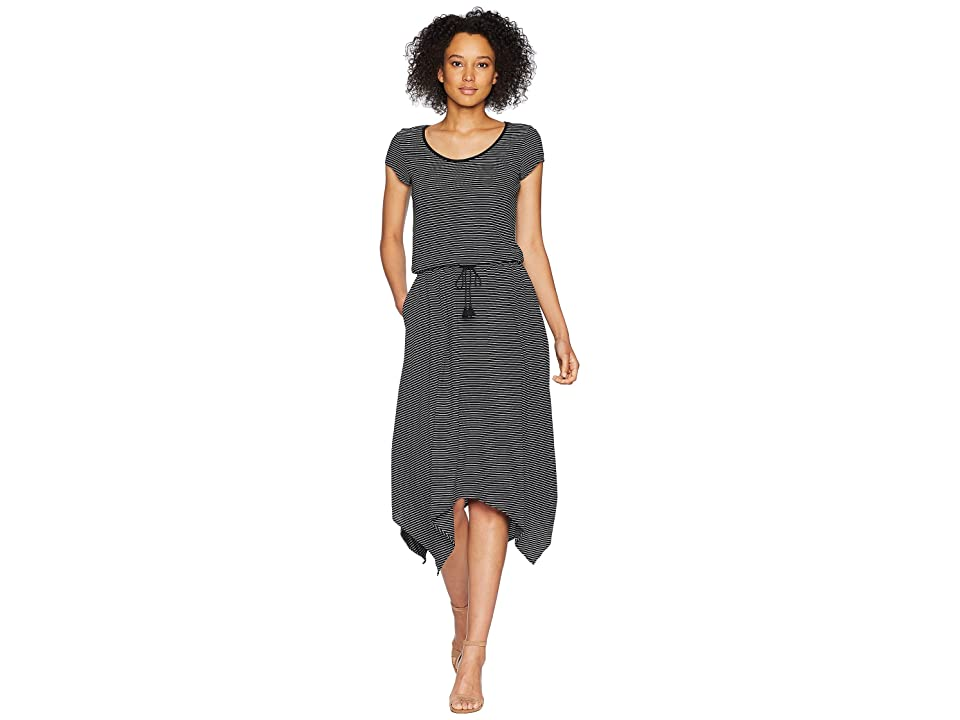 LAUREN Ralph Lauren Jersey Handkerchief Dress (Polo Black/Soft White) Women