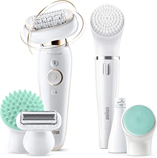 Braun Silk-épil 9 Flex 9-300 Beauty Set - Epilator for Women with Flexible Head for Easier Hair Removal, White/Gold