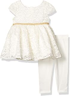 Sweet Heart Rose Baby Girls' Cap Sleeve Glitter Lace Dress and Legging Outfit Set