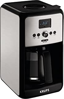 KRUPS Programmable Digital Coffee Maker, Coffee Machine with Stainless Steel Body, 12 Cup Coffee Maker, Silver