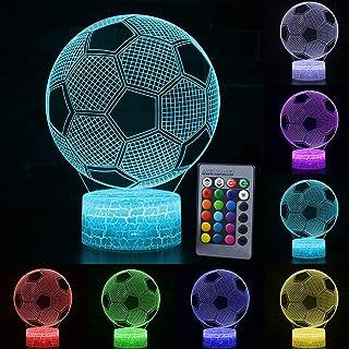 Fußball 3D Nachtlicht für Kinder Optische Täuschung Lampe mit Fernbedienung 16 Farben Ändern Fußball Geburtstag Weihnachtsidee für Sport Fan Jungen Mädchen