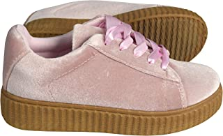 Peach Couture Juniors Wedge Double Decker Suede Faux Fur Flat Platform Shoes Lace Up Cute Sneakers (Kids 5-10yrs.)