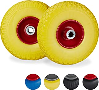 Casters 2 PCS 260MM Yellow Anti-Skid Wheel Truck Trolley Stroller Solid Rubber Tire PU 3.00-4 Two