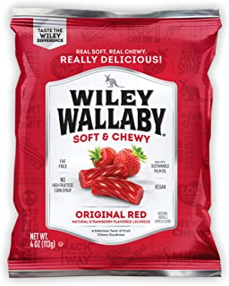 WILEY WALLABY Australian Style Gourmet Red Licorice, Soft and Chewy Candy, Fat Free, Low Calorie, Low Sugar, Kosher, Vegan,  4 oz Bags, 16 Count