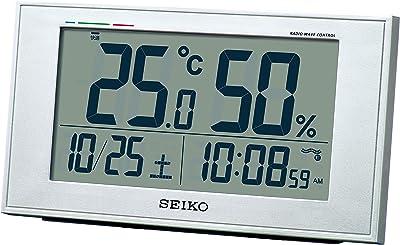 セイコークロック 置き時計 銀色メタリック 本体サイズ:8.5×14.8×5.3cm 電波 デジタル カレンダー 快適度 温度 湿度 表示 BC417S