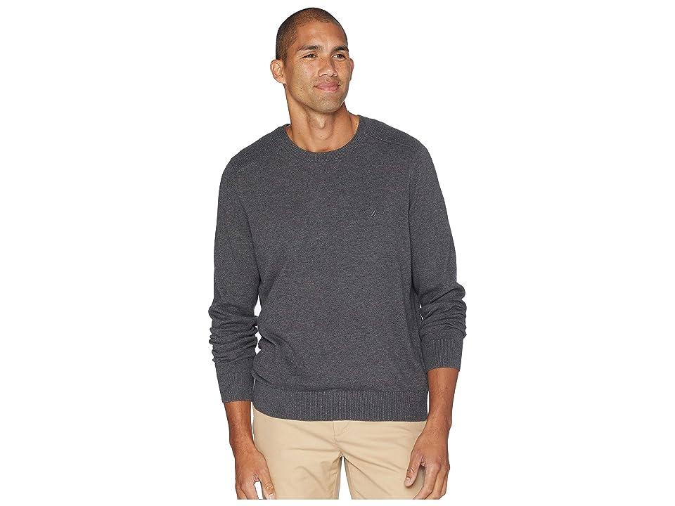 Nautica Solid Crew Neck Sweater (Charcoal Heather) Men
