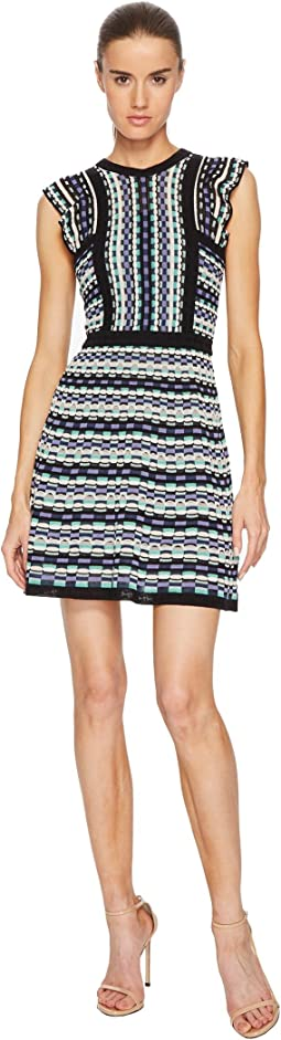 M Missoni Colorful Check Dress with Ruffle