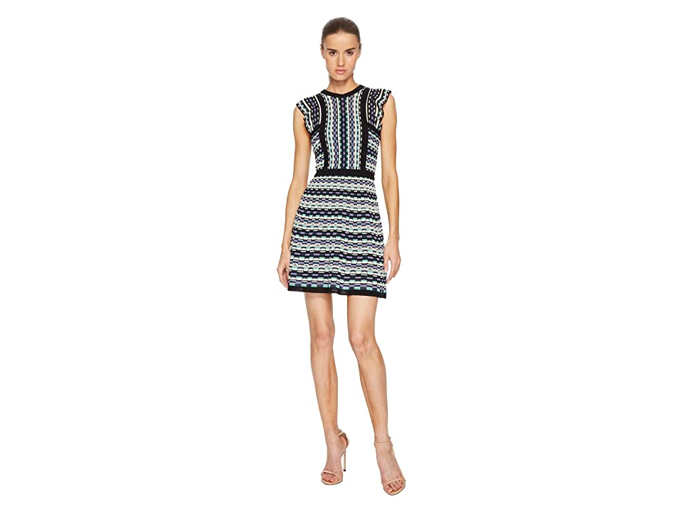 M Missoni Colorful Check Dress with Ruffle (White) Women