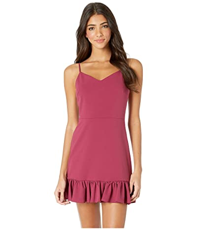 1.STATE Spaghetti Strap Ruffle Hem Slip Dress (Berry Charm) Women