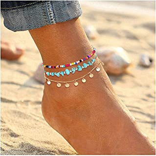 Anklets for Women Girls Color Beads Turquoise Drop Sequin Charm Adjustable Ankle Bracelets Set Boho Multilayer Beach Foot Jewelry