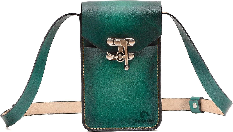 BrooklynMaker Green Genuine Leather Women Cellphone Wallet Clutch Purse Crossbody Bag Pouch