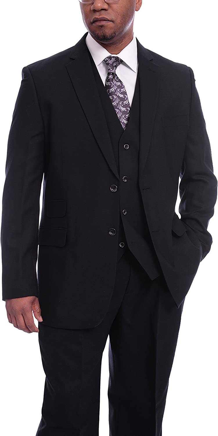 Steven Land Navy Blue Textured Vested Pleated Wool Suit