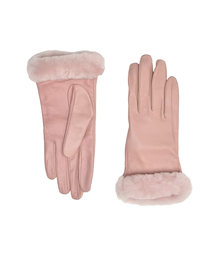 UGG  Classic Leather Shorty Tech Gloves (Pink Crystal) Extreme Cold Weather Gloves